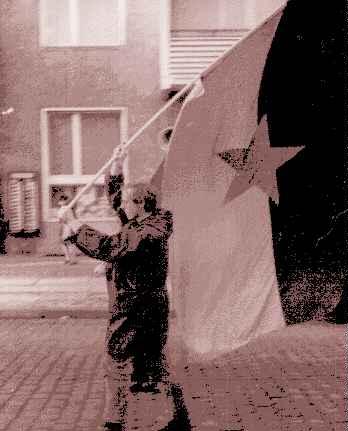 Flag bearer leads the way.